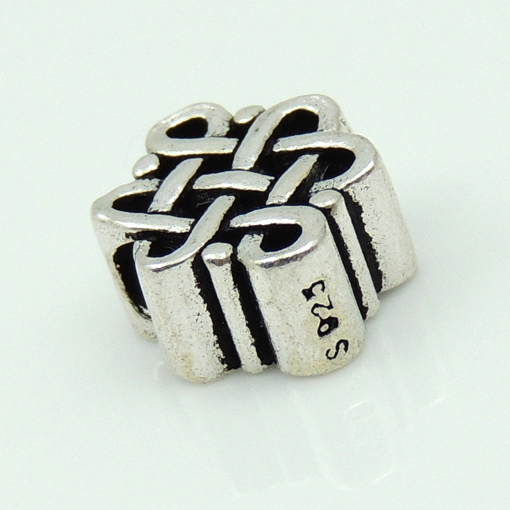 1 PC Braided Chinese Fortune Knot Charm - Genuine S925 Sterling Silver