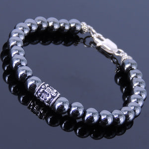 6mm Hematite Healing Gemstone Bracelet with S925 Sterling Silver Fleur de Lis Barrel Bead & Clasp - Handmade by Gem & Silver BR314