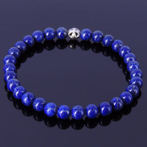 6mm Lapis Lazuli Healing Gemstone Bracelet with S925 Sterling Silver Round Celtic Cross Bead - Handmade by Gem & Silver BR312