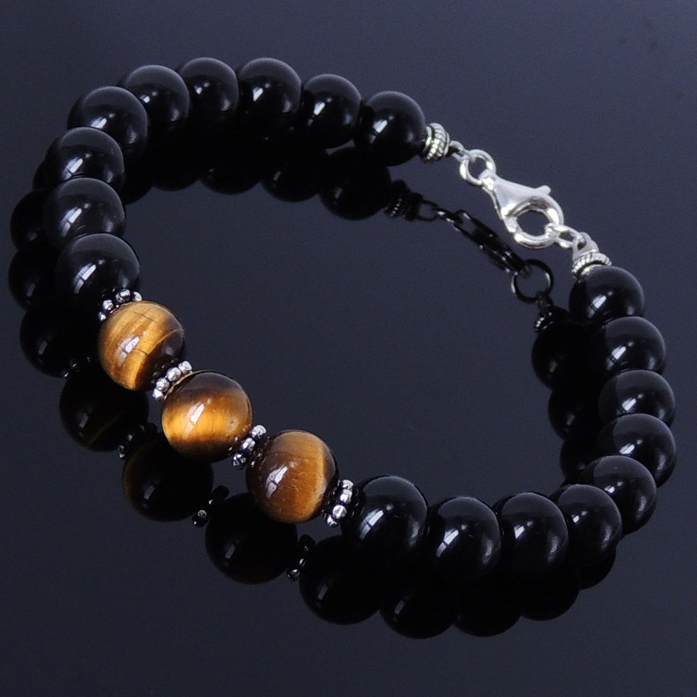 8mm Black Obsidian & Brown Tiger Eye Healing Gemstone Bracelet with S925 Sterling Silver Beads Spacers & Clasp - Handmade by Gem & Silver BR119