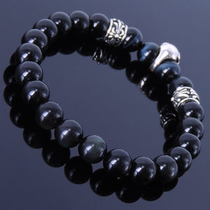 8mm Blue Tiger Eye & Rainbow Black Obsidian Healing Gemstone Bracelet with S925 Sterling Silver Celtic Protection Skull & Cross Spacer Beads - Handmade by Gem & Silver BR254