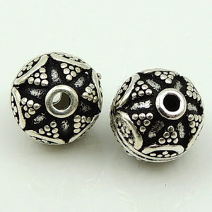 1 PC Vintage Ornate Decorative 9mm Bead - S925 Sterling Silver WSP127X1