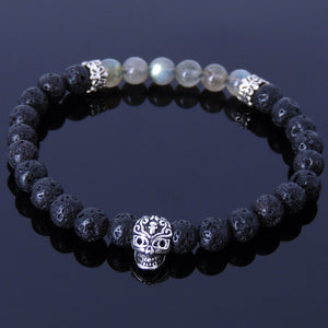 6mm Labradorite & Lava Rock Healing Gemstone Bracelet with S925 Sterling Silver Day of the Dead Skull Bead & Cross Spacers - Handmade by Gem & Silver BR315