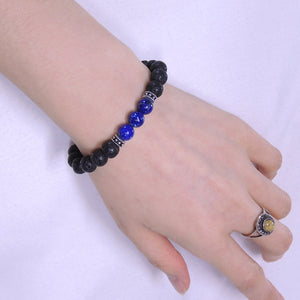 8mm Lapis Lazuli & Lava Rock Healing Gemstone Bracelet with S925 Sterling Silver Spacers & Protection Skull Bead - Handmade by Gem & Silver BR316