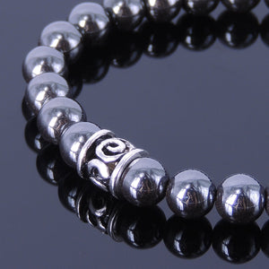8mm Hematite Healing Gemstone Bracelet with S925 Sterling Silver Seamless Artisan Barrel Bead - Handmade by Gem & Silver BR142E