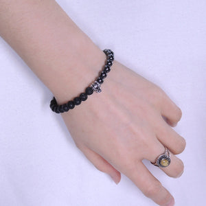 6mm Hematite & Lava Rock Gemstone Bracelet with S925 Sterling Silver Wolf Courage Bead & Cross Spacer - Handmade by Gem & Silver BR320