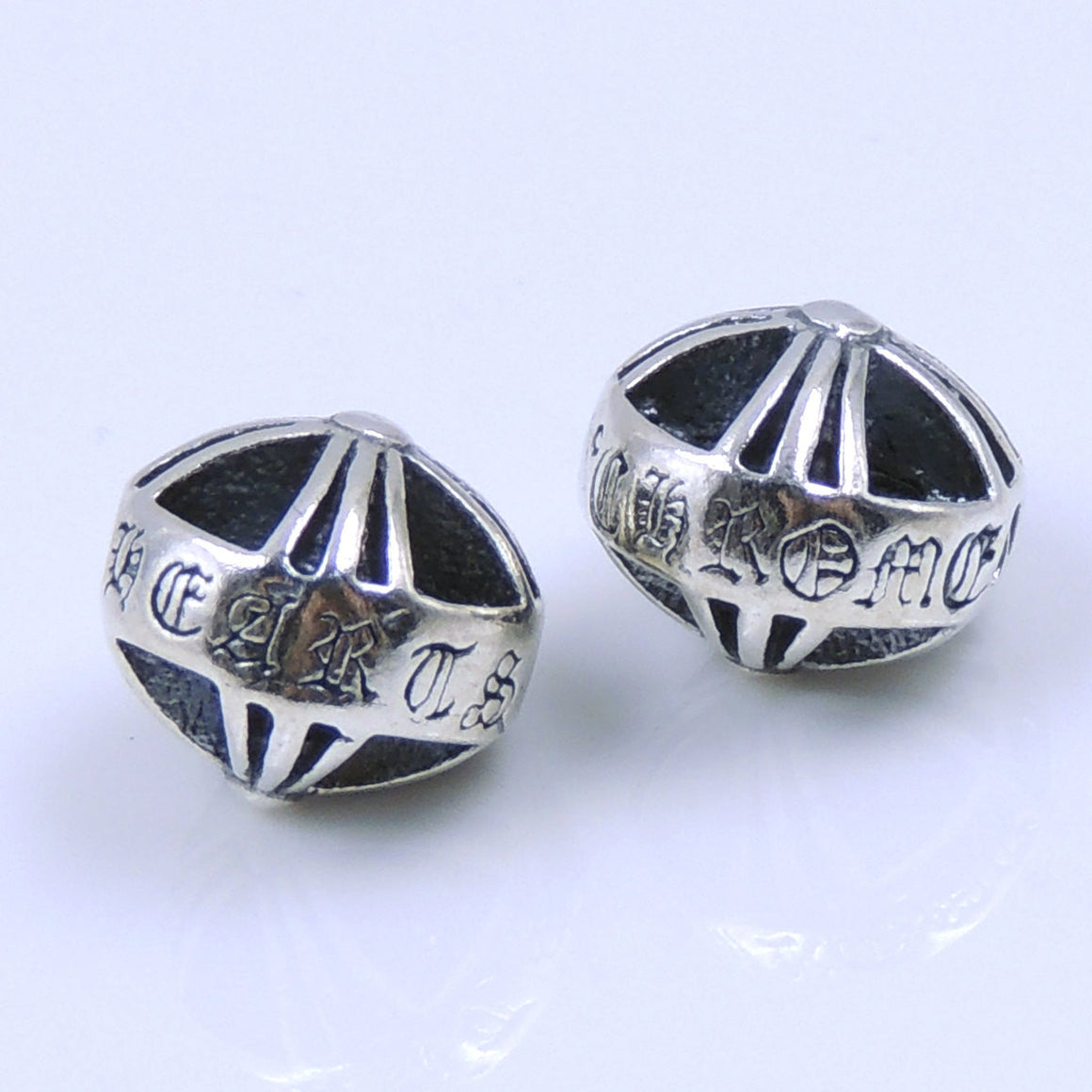 2 PCS Round Gothic Cross Bead - S925 Sterling Silver WSP251X2