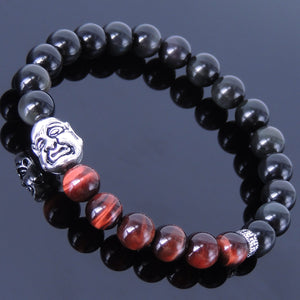 8mm Rainbow Black Obsidian & Red Tiger Eye Healing Gemstone Bracelet with S925 Sterling Silver Double Face Buddha & Buddhism Spacer Bead - Handmade by Gem & Silver BR182
