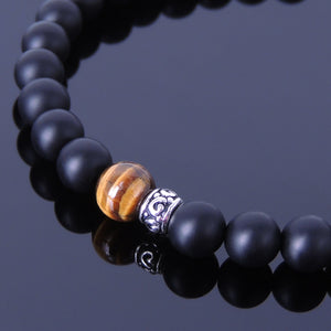 6mm Matte Black Onyx & Brown Tiger Eye Healing Gemstone Bracelet with S925 Sterling Silver Artisan Spacer Beads & Clasp - Handmade by Gem & Silver BR192