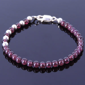 4mm Purple Garnet Healing Gemstone Bracelet with S925 Sterling Silver 3mm Round Spacer Beads & Clasp - Handmade by Gem & Silver BR087