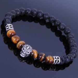 6mm Brown Tiger Eye & Lava Rock Healing Gemstone Bracelet with S925 Sterling Silver Day of the Dead Skull Bead & Fleur de Lis Spacers- Handmade by Gem & Silver BR331