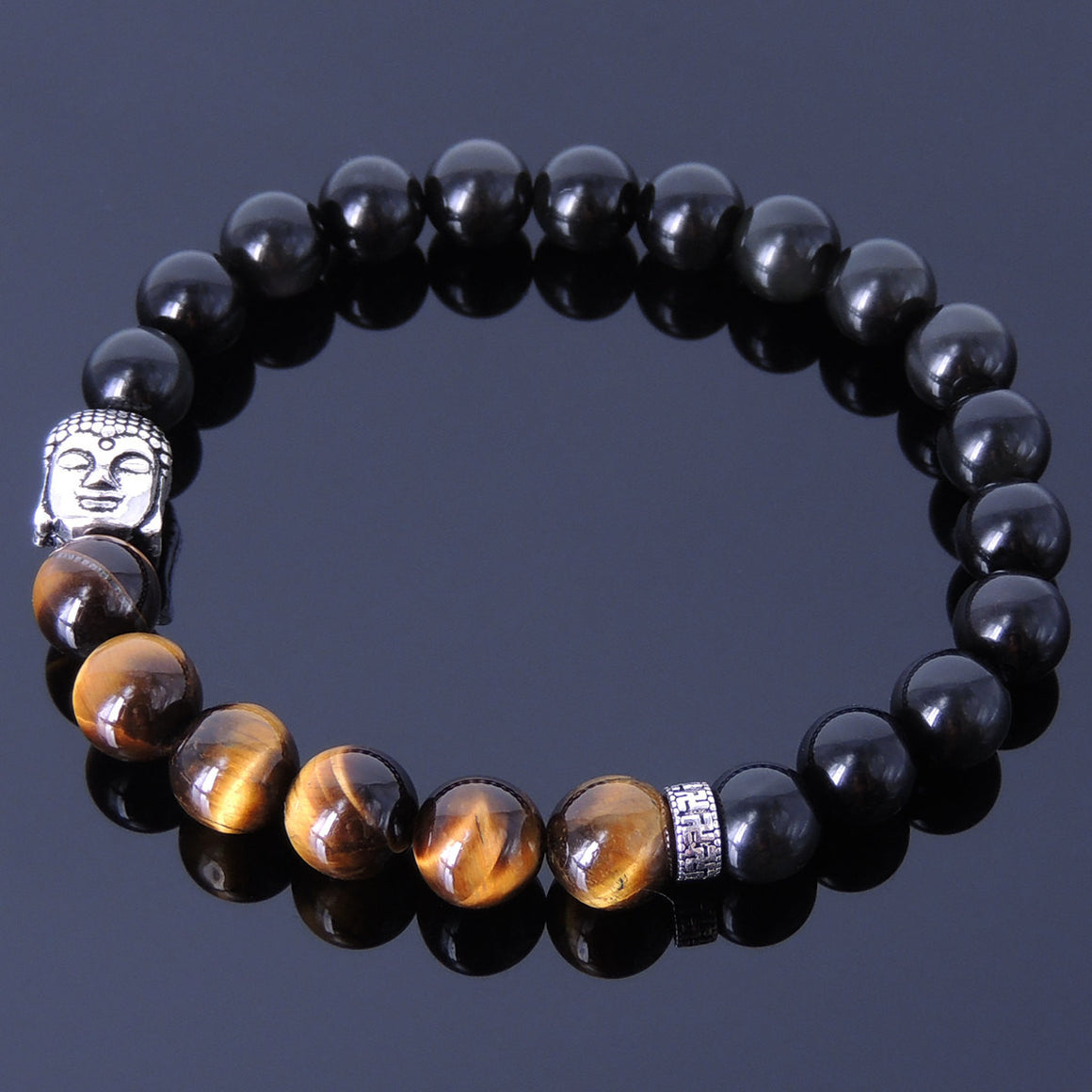 Rainbow Black Obsidian & Brown Tiger Eye Healing Gemstone Bracelet with S925 Sterling Silver Sakyamuni Buddha & OM Meditation Spacer Bead - Handmade by Gem & Silver BR329