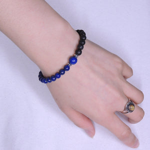 Lapis Lazuli & Lava Rock Healing Gemstone Bracelet with S925 Sterling Silver Beads Spacers & Clasp - Handmade by Gem & Silver BR335