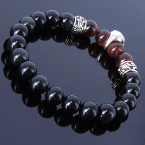 8mm Red Tiger Eye & Rainbow Black Obsidian Healing Gemstone Bracelet with S925 Sterling Silver Celtic Protection Skull & Cross Spacer Beads - Handmade by Gem & Silver BR280