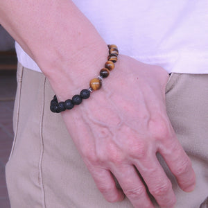 Lava Rock & Brown Tiger Eye Healing Gemstone Bracelet with S925 Sterling Silver Spacer Beads & S-Hook Clasp - Handmade by Gem & Silver BR340