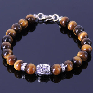 8mm Brown Tiger Eye Healing Gemstone Bracelet with S925 Sterling Silver Guanyin Buddha, Buddhism Spacer Beads & S-Hook Clasp - Handmade by Gem & Silver BR344