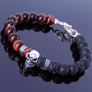 8mm Lava Rock & Red Tiger Eye Healing Gemstone Bracelet with S925 Sterling Silver Protection Skull, Celtic Spacer Beads & S-Hook Clasp - Handmade by Gem & Silver BR345