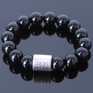 12mm Bright Black Onyx Healing Gemstone Bracelet with S925 Sterling Silver Faceted Barrel Charm - Handmade by Gem & Silver BR069