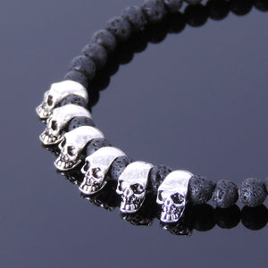 4mm Lava Rock Healing Stone Bracelet with S925 Sterling Silver Protection Skull Beads & Clasp - Handmade by Gem & Silver BR350