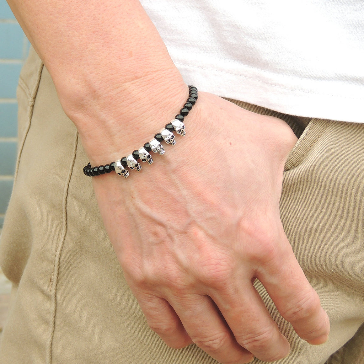 4mm Black Onyx Healing Gemstone Bracelet with S925 Sterling Silver Skulls & Clasp - Handmade by Gem & Silver BR347