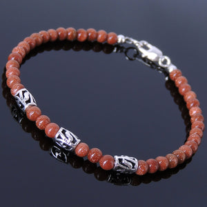 4mm Golden Sandstone Healing Gemstone Bracelet with S925 Sterling Silver Artisan Barrel Beads & Clasp - Handmade by Gem & Silver BR037