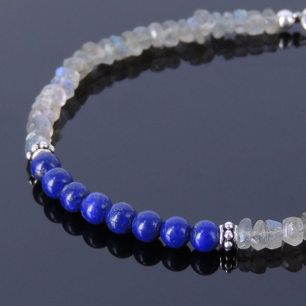 2x4mm Faceted Labradorite & 4mm Lapis Lazuli Healing Gemstone Bracelet with S925 Sterling Silver Spacer Beads & Clasp - Handmade by Gem & Silver BR260
