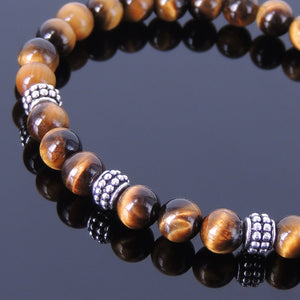 6mm Brown Tiger Eye Healing Gemstone Bracelet with S925 Sterling Silver Artisan Spacer Beads - Handmade by Gem & Silver BR368E