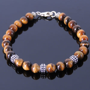 6mm Brown Tiger Eye Healing Stone Bracelet with S925 Sterling Silver Artisan Spacer Beads & Clasp - Handmade by Gem & Silver BR368