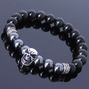 8mm Hematite & Black Obsidian Healing Gemstone Bracelet with S925 Sterling Silver Skull Charm & Celtic Cross Spacers - Handmade by Gem & Silver BR138