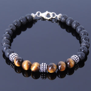 6mm Lava Rock & Brown Tiger Eye Healing Stone Bracelet with S925 Sterling Silver Artisan Spacer Beads & Clasp - Handmade by Gem & Silver BR369