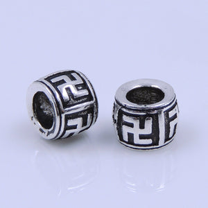 2 PCS Vintage Buddhism Meditation Barrel Beads - S925 Sterling Silver WSP254X2