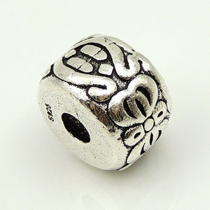 1 PC Large Vintage Aztec Ruin Barrel Charm - Genuine S925 Sterling Silver