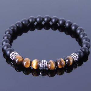 6mm Brown Tiger Eye & Matte Black Onyx Healing Gemstone Bracelet with S925 Sterling Silver Vintage Spacer Beads - Handmade by Gem & Silver BR371