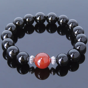 Bright Black Onyx & Red Agate Healing Gemstone Bracelet with S925 Sterling Silver Artisan Spacers - Handmade by Gem & Silver BR378