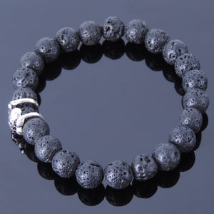 8mm Lava Rock Healing Stone Bracelet with S925 Sterling Silver Gothic Skull Protection Charm - Handmade by Gem & Silver BR373