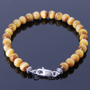 6mm Golden Tiger Eye Healing Gemstone Bracelet with S925 Sterling Silver Spacer Beads & Clasp - Handmade by Gem & Silver BR379