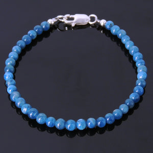 4mm Blue Apatite Healing Gemstone Bracelet with S925 Sterling Silver Spacer Beads & Clasp - Handmade by Gem & Silver BR228