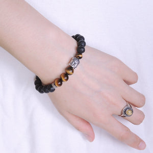 Brown Tiger Eye & Lava Rock Healing Gemstone Bracelet with S925 Sterling Silver Sakyamuni Buddha & Spacers - Handmade by Gem & Silver BR377