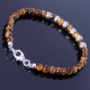 4mm Brown Tiger Eye Healing Gemstone Bracelet with S925 Sterling Silver Artisan Spacer Beads & Clasp - Handmade by Gem & Silver BR183