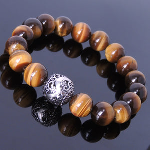 12mm Brown Tiger Eye Healing Gemstone Bracelet with S925 Sterling Silver Artisan Floral Bead - Handmade by Gem & Silver BR024