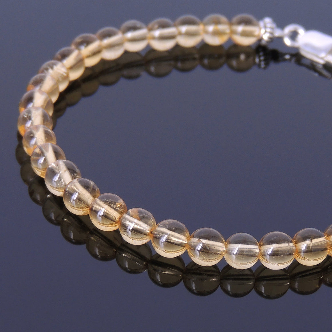 5mm Citrine Quartz Healing Gemstone Bracelet with S925 Sterling Silver Spacer Beads & Clasp - Handmade by Gem & Silver BR381