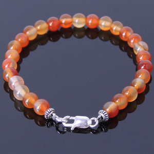 6mm Red Carnelian Healing Gemstone Bracelet with S925 Sterling Silver Spacer Beads & Clasp - Handmade by Gem & Silver BR382