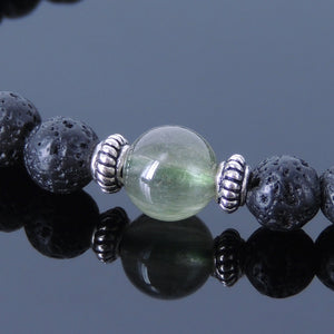 Green Rutilated Quartz & Lava Rock Healing Gemstone Bracelet with S925 Sterling Silver Spacer Beads - Handmade by Gem & Silver BR386
