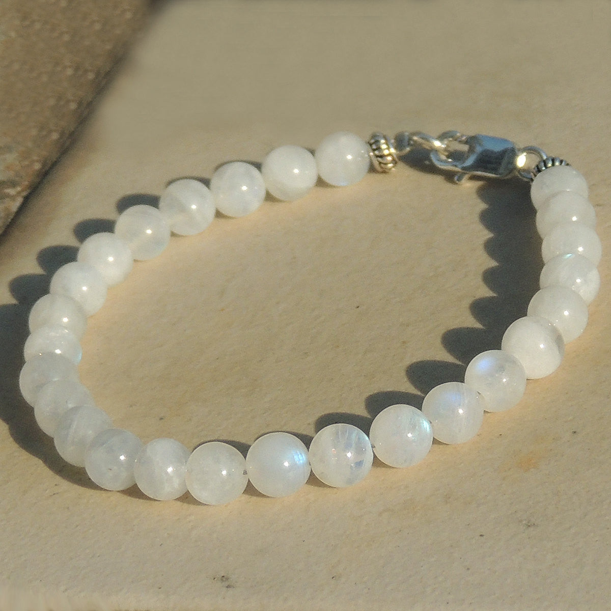 6mm Moonstone Healing Gemstone Bracelet with S925 Sterling Silver Spacer Beads & Clasp - Handmade by Gem & Silver BR383