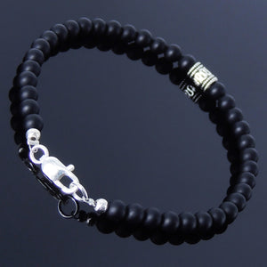 4mm Matte Black Onyx Healing Gemstone Bracelet with S925 Sterling Silver Barrel Bead & Clasp - Handmade by Gem & Silver BR246