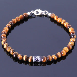 4mm Brown Tiger Eye Healing Gemstone Bracelet with S925 Sterling Silver Artisan Barrel Bead & Clasp - Handmade by Gem & Silver BR124