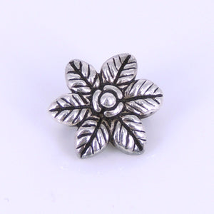 2 PCS Vintage Hawaiian Flower Connector Beads - S925 Sterling Silver WSP264X2