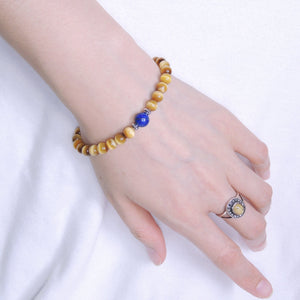 Golden Tiger Eye & Lapis Lazuli Healing Gemstone Bracelet with S925 Sterling Silver Spacer Beads - Handmade by Gem & Silver BR387