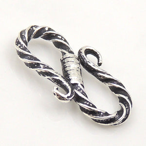 2 PCS Vintage Oxidized S-Hook Clasp - S925 Sterling Silver WSP097X2