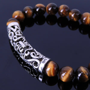 8mm Brown Tiger Eye Healing Gemstone Bracelet with S925 Sterling Silver Celtic Fleur de Lis Charm - Handmade by Gem & Silver BR097